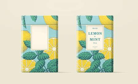 Lemon mint tea 3d illustration paper can packaging, engraving style illustration Stock Illustratie