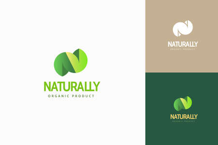 Round fat leaf in N shaped with beautiful gradient color, alphabet logo design set Stock Illustratie