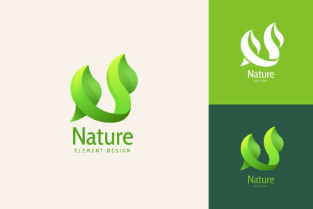 Nature leaf in N shaped with beautiful gradient color, alphabet logo design set