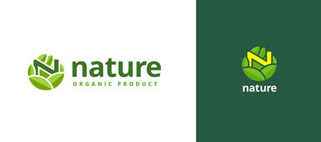 Nature logo design with alphabet N in hand palm, flat style