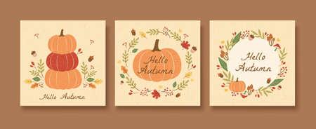 Hello autumn pumpkin illustration pattern set with acorns and leaves wreath Stock Illustratie