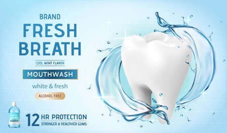 Ad template for mouth wash or oral rinse, with giant white molar surrounded by blue splashing water, 3d illustration
