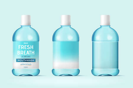 3d illustration of mouth wash or oral rinse bottle mock-ups, isolated on light blue background