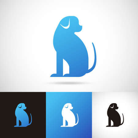 Silhouette of dog logo design set in blue, white and black