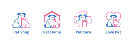 Lovely pet line style logo set with dog and cat for different industries such as pet shop, hotel and veterinarian