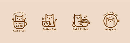Lovely cat cafe line style logo set in brown color