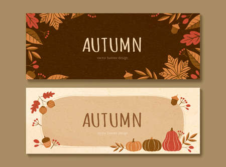 Autumn plants and pumpkins banner set in brown and beige tone
