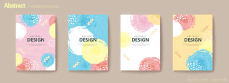 Abstract hand drawn circular bubbles flyer set with zigzag and dotted ornaments in pastel color