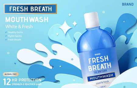 Ad template for mouth wash or oral rinse, bottle mock-up with blue paper cut waves, 3d illustration