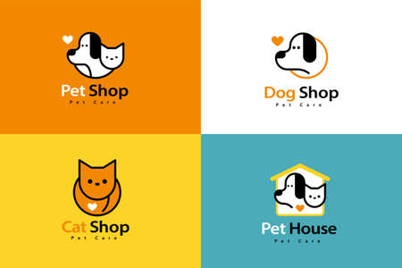 Lovely line style pet logo set for pet shop and hotel with cat and dog