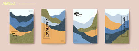 Earth tone mountain layers flyer set with texture Stock Illustratie