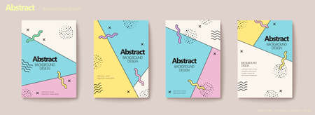 Memphis geometric flyer set in pastel tone with halftone, wave pattern elements