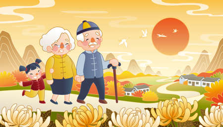 Double ninth festival illustration in hand drawn design, with cute grandparents and their grandchild walking on the Chinese country road