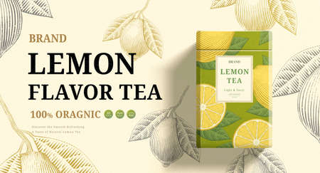 Lemon mint tea ads with engraving ingredients background on beige background, 3d illustration green and yellow packaging Stock Illustratie
