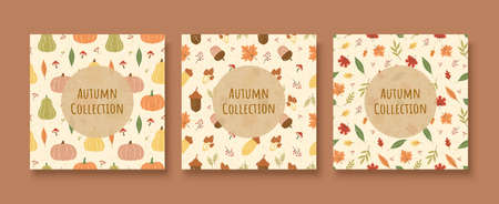 Autumn harvest seamless pattern set with circle shape in the middle