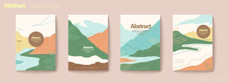 Mountain and river scene flyer set with line style leaf decoration