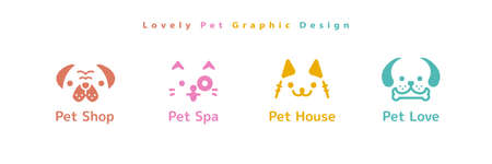 Set of lovely dog and cat head icons for pet shop, grooming, hotel and veterinarian