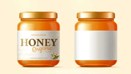 Realistic golden honey jar mock-up isolated on yellow background, one with label design and one without Stock Illustratie