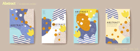 Abstract tulip flyer set with stripes and dotted ornaments