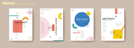 Modern geometric flyer set in pastel tone with rectangle and circle shapes Stock Illustratie