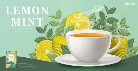 Lemon mint tea banner ads with engraving ingredients background, 3d illustration tea cup and packaging Stock Illustratie