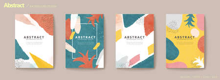 Colorful irregular shapes and pineapple leaves flyer set