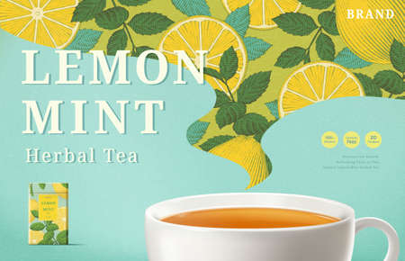 Lemon mint tea ads with engraving pattern in hot steam shape, 3d illustration tea cup and packaging on turquoise background