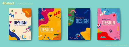 Vivid color abstract flyer set with rainbow, zigzag and irregular shapes