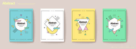 Memphis geometric flyer set in pastel tone with triangle, hexagon, circle shapes