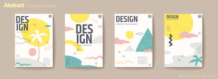 Pastel color resort island concept flyer set with palm tree, ocean, mountain and sun Stock Illustratie