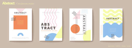 Modern geometric flyer set in pastel tone with rectangle, semi-circle, triangle and wave shapes