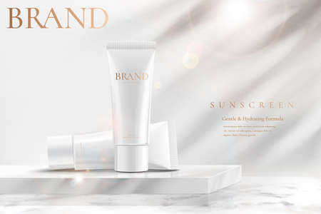 Ad template for simple skin care product, tube mock-ups set on white marble square podium in 3d illustration