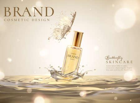 Skincare cosmetic product over splashing liquid and butterfly design element in 3d illustration Vektorgrafik
