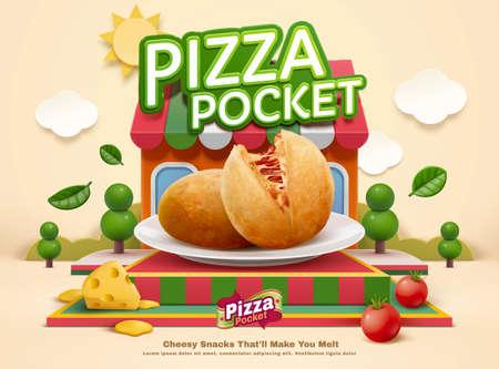 Pizza pocket ad templpate with food mock-up set on miniature restaurant background, 3d illustration