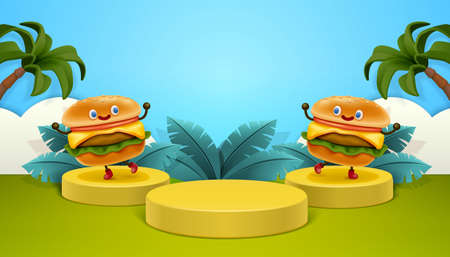 Burger ad poster in 3d illustration with two burgers on podium against tropical background