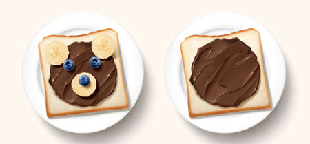 Healthy breakfast with bear shaped chocolate toast and fresh fruit in 3d illustration