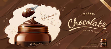 Creative chocolate spread ad in 3d illustration, dark chocolate texture background with luxury jar mock-up