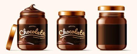 Set of luxury chocolate spread jars in 3d illustration