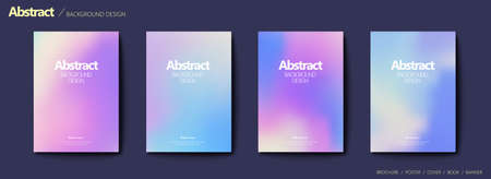Set of brochure and flyer cover template, with blurry gradient background design in pastel tone