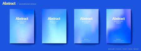 Set of brochure and flyer cover template, with indigo blue blurry gradient background design