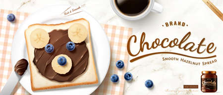 Creative chocolate spread ad in 3d illustration, healthy breakfast with bear shaped chocolate toast and fresh fruit