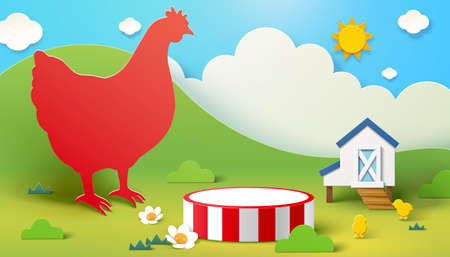 Farm theme background with chicken silhouette and product display podium, 3d illustration 向量圖像
