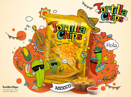Tortilla corn chip bag in 3d illustration, ad design with cute cartoon cactus and chili illustrations on the background Vector Illustration