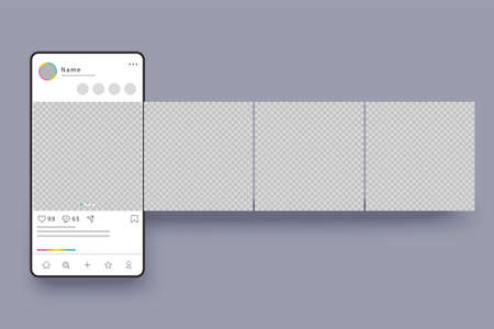 Smart phone interface carousel post. Social media banner background templates and post frame editable design with transparent background Ilustracje wektorowe