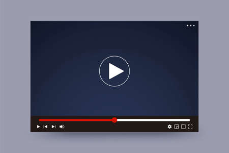 Video player interface illustration. Video player screen with navigation icons. Design mockup of video interface window template.