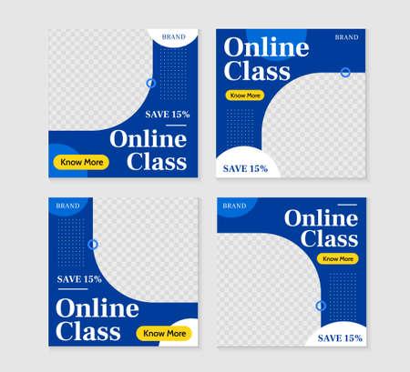 Online classes square post ad template illustration set. Promotional banner for social media post, web banner and flyer illustration.