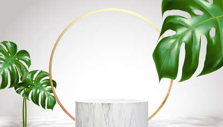 Round podium with leaves and golden ring backdrop for displaying products in 3d illustration