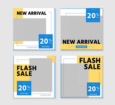 New arrival and flash sale discount template set illustrations. Promotion square web banner for social media mobile apps. Editable mockup with abstract shape. Digital banner and poster.