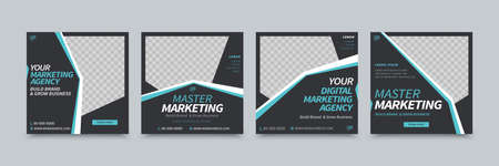 A set of social media template design with black background colors and blue strips to create geometric shapes, suitable for brand building or promotion