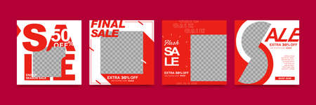 A set of social media template design with red and white background colors ,using big huge sale text to create strong image, suitable for seasonal sales or promotion Ilustração